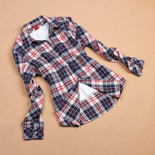 2013 women button down lapel shirt plaids checks flannel shirts tops blouse