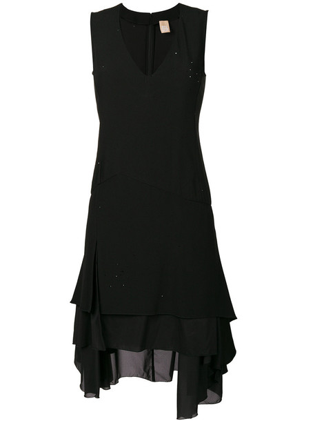 Pascal Millet dress plunge dress women spandex black silk