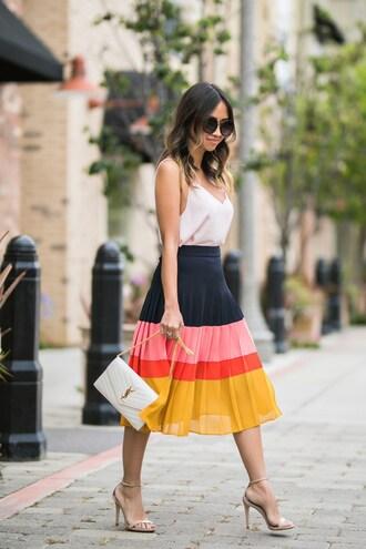 lace and locks blogger top skirt shoes bag sunglasses ysl bag midi skirt pleated skirt sandals high heel sandals