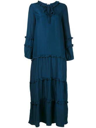 dress women blue silk