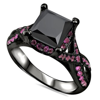 jewels princess cut black diamond engagement ring 1.75 carat princess cut black diamond engagement ring with pink sapphire side stones four prong set diamond ring engagement ring pink sapphire ring evolees.com