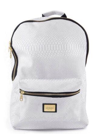 white bag bag backpack bookbag