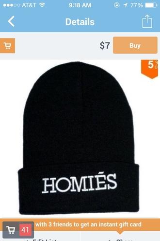 hat homies beanie black black hat white