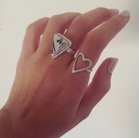 triangle jewels ring mosaic blue silver love heart
