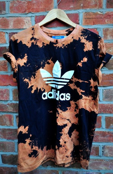 adidas dip dyed orange t-shirt bleached vintage bad girls clique hipster shirt dope adidas originals tie dye streetstyle streetwear swag clothes adidaswomen adidasshirt tye dye adidas bleached shirt
