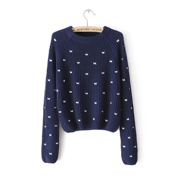 2013 fall new za brand sweater same shall bow embroidery embroidered long sleeved round neck pullover