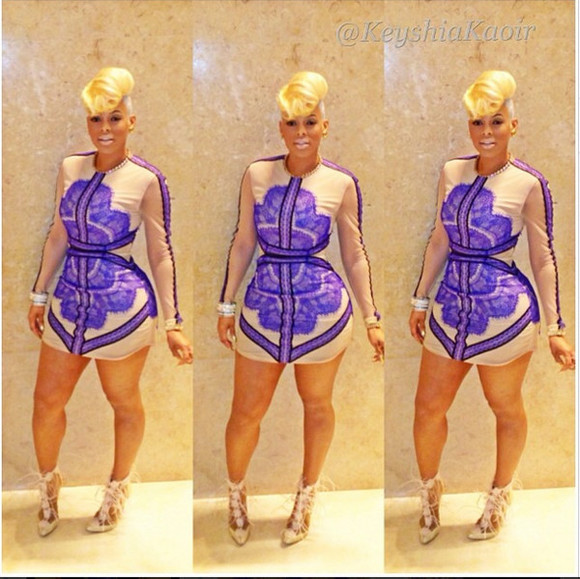 dress mini dress bodycon keyshia kaoir cosmetics blue lace third floor nude beige sexy