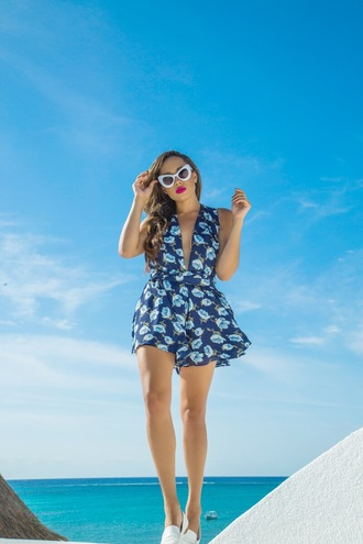romper tumblr blue romper v neck plunge v neck sunglasses white sunglasses sleeveless