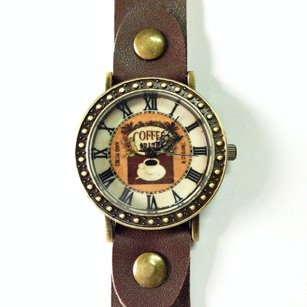 jewels coffee leather watch watch watch vintage style jewelry fashion style accessories