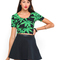 Buy motel tabby crop top in green palm leaf at motel rocks