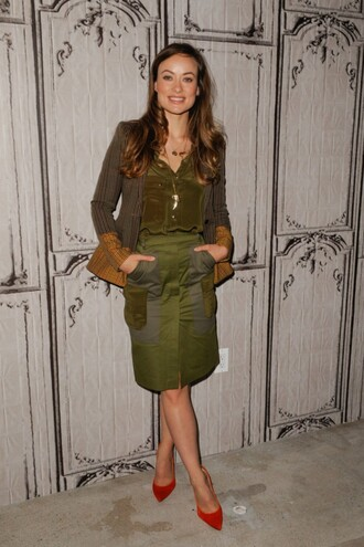 skirt blazer blouse pumps olivia wilde olive green