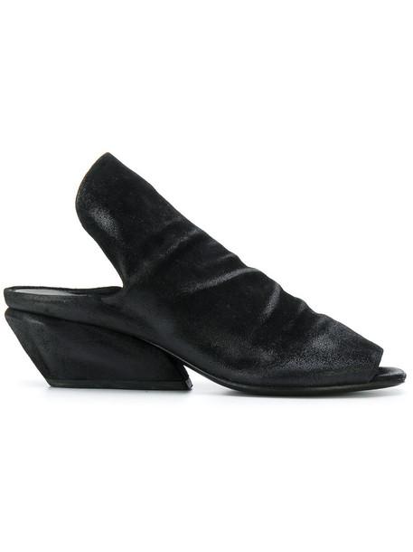 Marsèll women mules leather suede black shoes