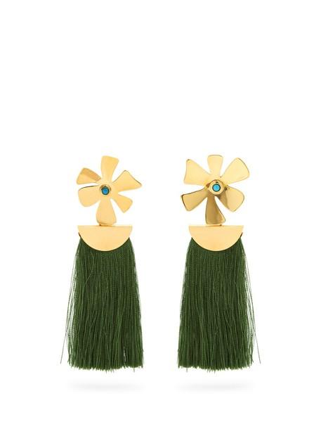 tassel daisy earrings green jewels