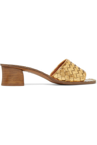 metallic mules gold leather shoes
