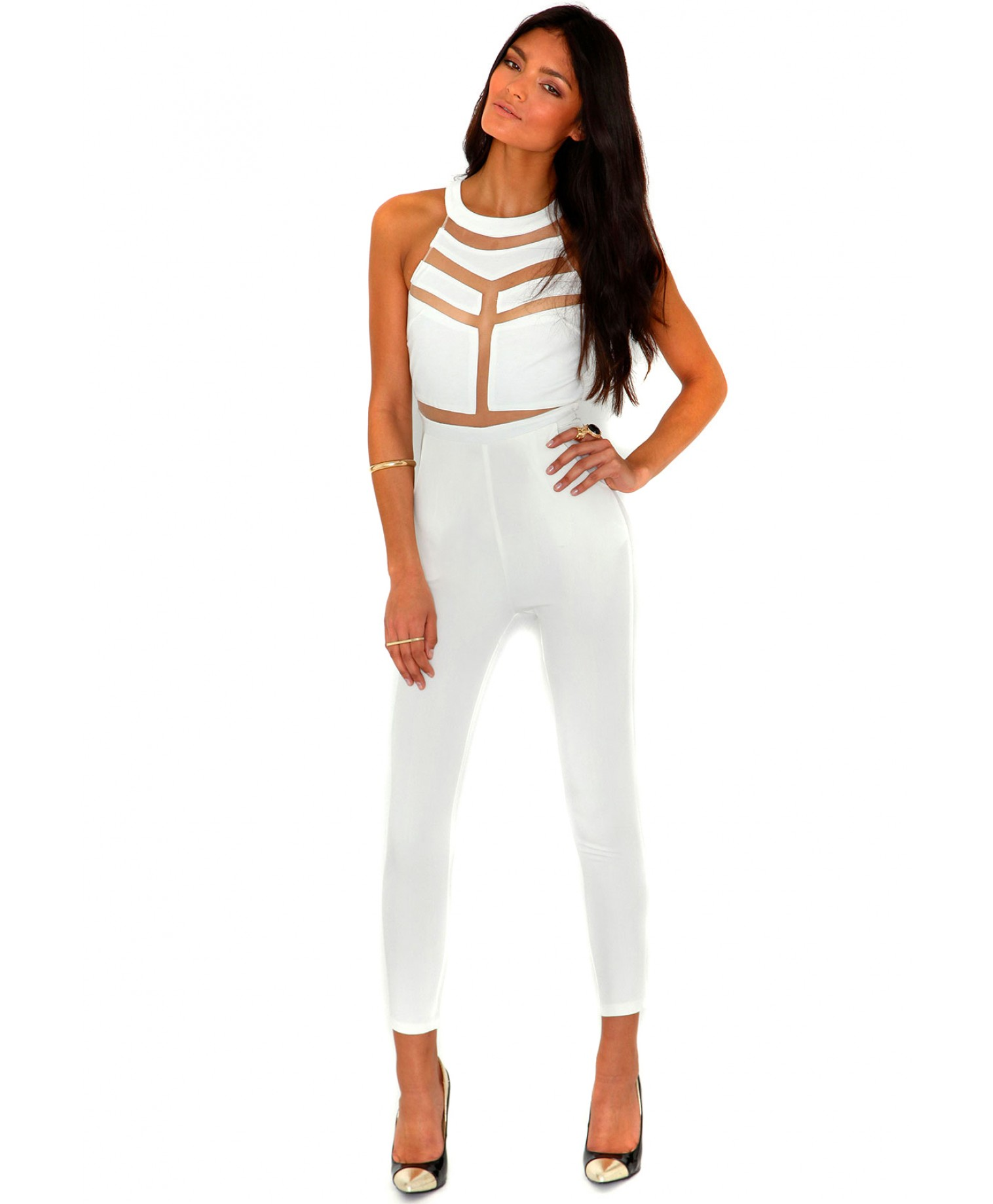 Missguided - Milenka Mesh Panel Jumpsuit In Cream
