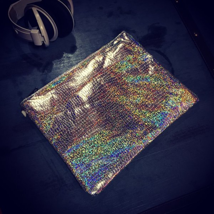 Holographic Snakeskin Clutch