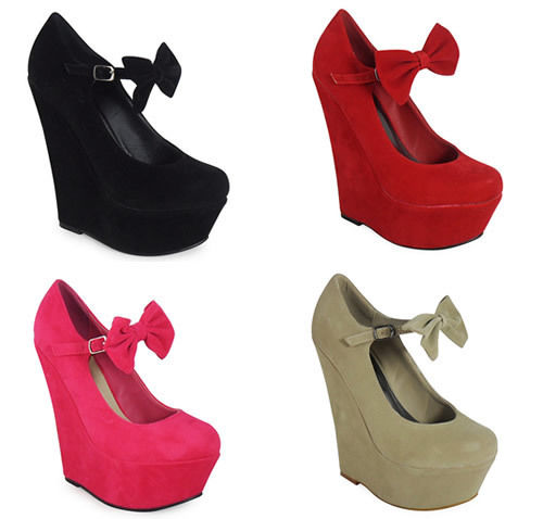 Hot Womens Ladies Mary Jane Bow Suede Platform High Wedge Shoes UK2 9 HF391 3 | eBay