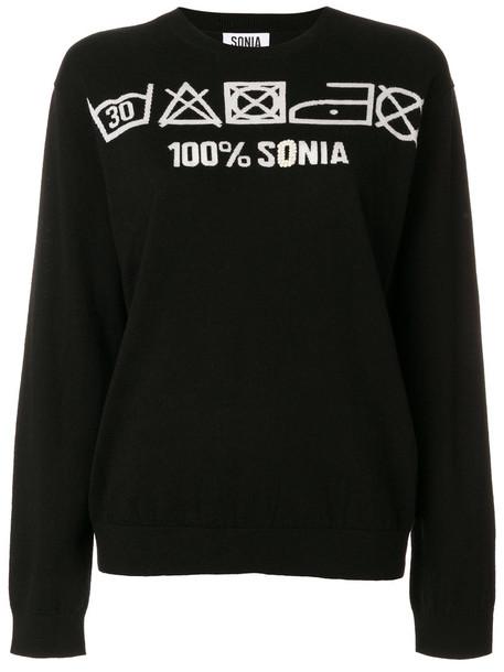 Sonia By Sonia Rykiel - 100% Sonia jumper - women - Cotton/Polyamide/Wool - M, Black, Cotton/Polyamide/Wool