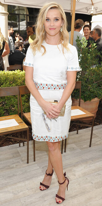 dress white reese witherspoon sandals mid heel sandals