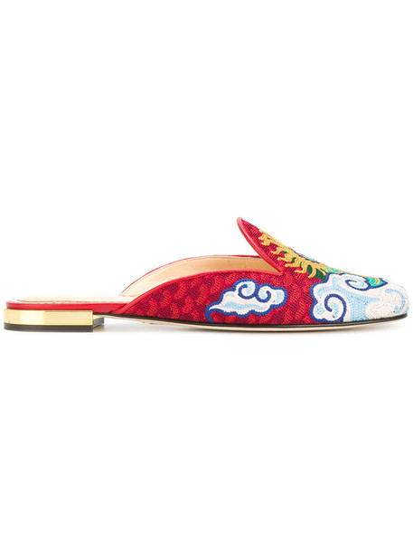 charlotte olympia women mules leather red shoes