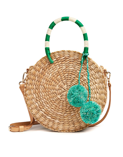 Kayu Isabel Circle Woven Pom Pom Shoulder Bag Natural/green