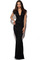 Honor gold v neck lace maxi dress in black