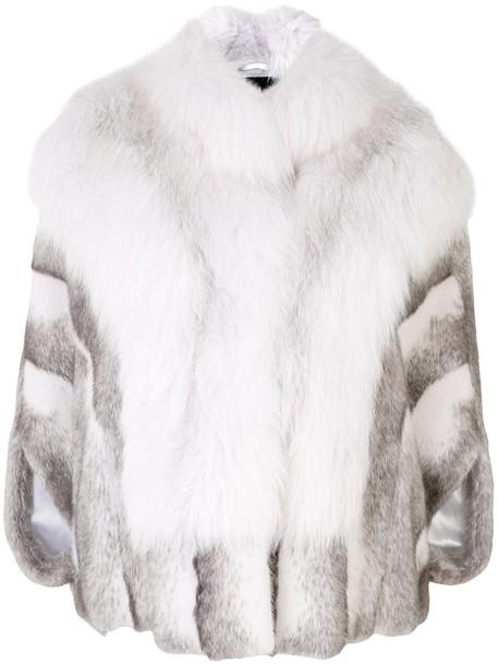 cape fur fox women white top