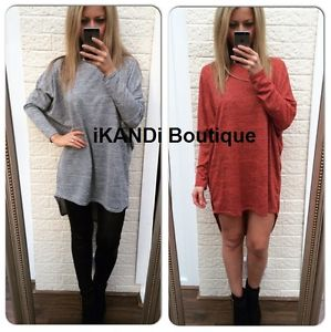 Ladies long loose oversized batwing top blouse tee t shirt tunic dress hilo hem