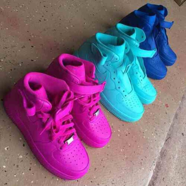 New Custom Painted All Blue All Sizes Nike Air Force 1 s High 98675fd6e