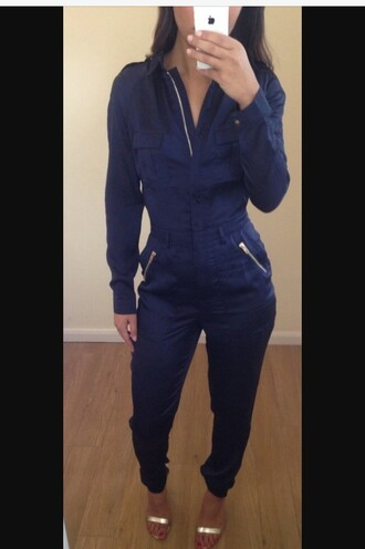 jumpsuit royal blue blue dress royal blue dress dress jumper zip gold sequins tumblr outfit