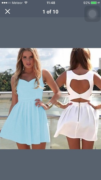 dress blue blue dress light blue white cute open back skater dress