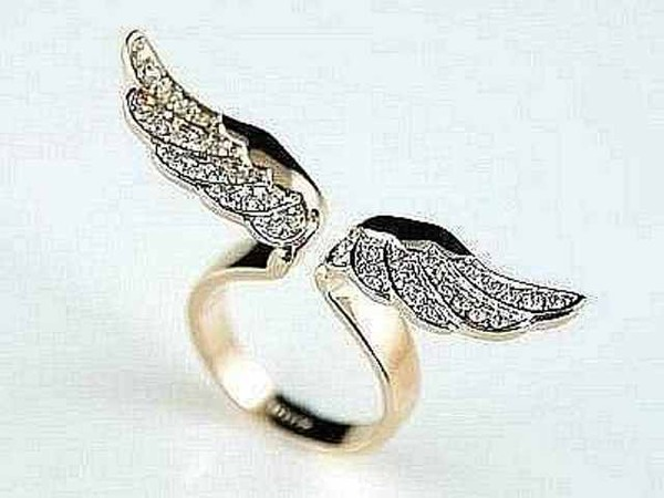 jewels ring wings gold diamonds jewelry angel wings - nail accessories
