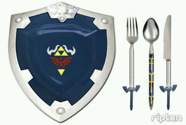 home accessory legend of zelda silverware plate dishes kitchen geek zelda video games dinnerware