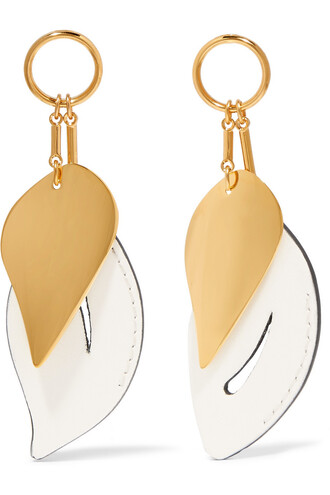 earrings gold leather white jewels