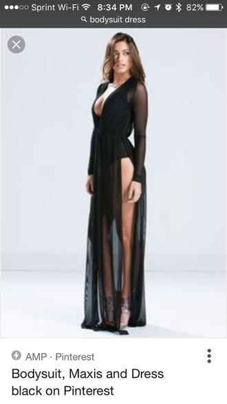 dress bodysuit sheer long long dress black bodysuit cut-out
