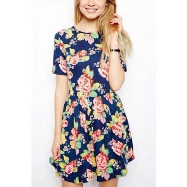 8a9702eddf9 dress floral dress navy babydoll dress short sleeve dress