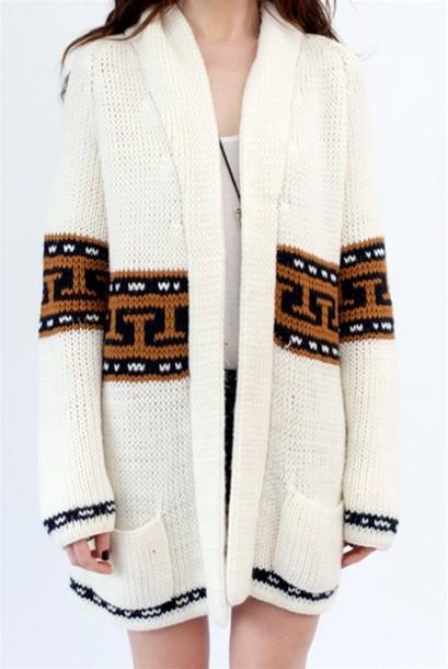 aztec oversized wool brown sweater white sweater black sweater sweater