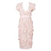 dress,midi dress,flowers,bodycon dress,pink dress,pastel pink,blush pink,floral dress,bandage dress,party dress,lace dress