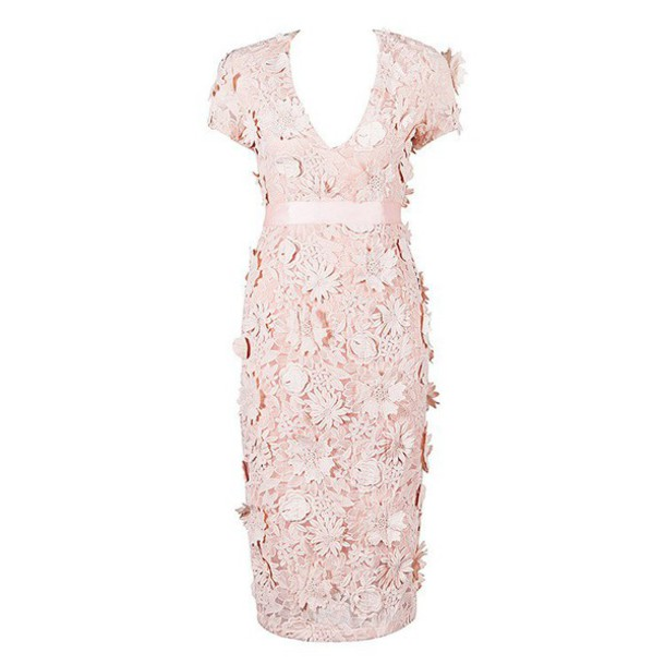 9d8c083210c5 dress midi dress flowers bodycon dress pink dress pastel pink blush pink  floral dress bandage dress