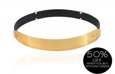 Accessories :: Belts & Scarves :: 'Signature' Gold Metal Black Leather Waist Belt - Celeb Boutique   Be Obsessed   Brit Designed Bandage Bodycon Dresses & Way More.