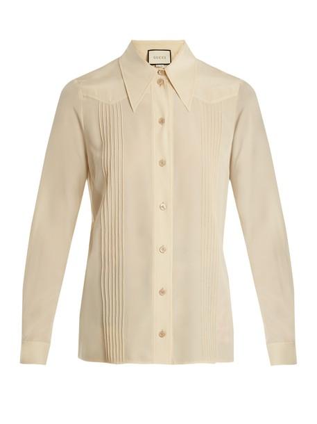 gucci shirt silk cream top