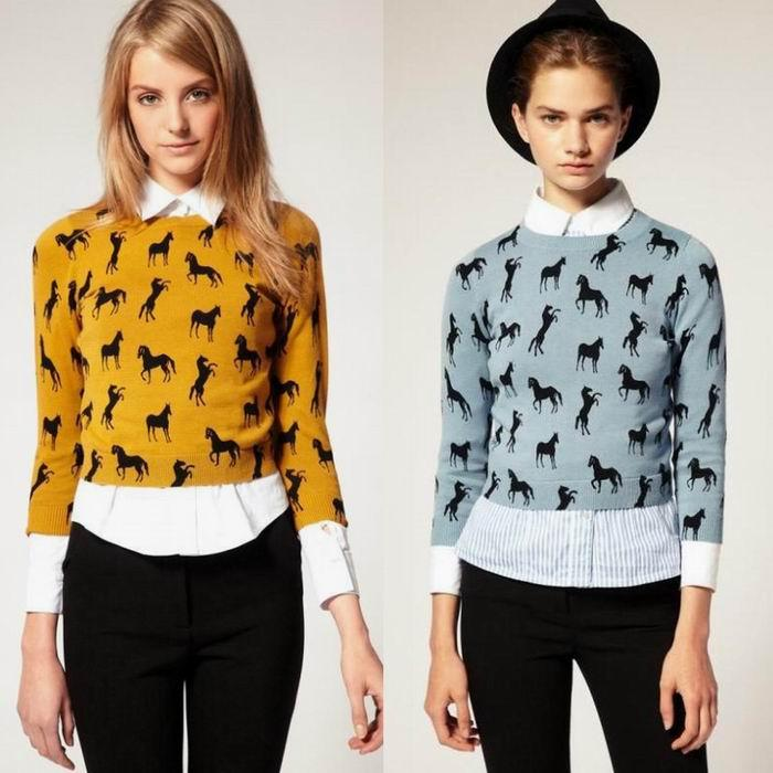 New Fall Fashion Size XS s Women Horse Print Knitted Sweater Jumper Pullover Top | eBay