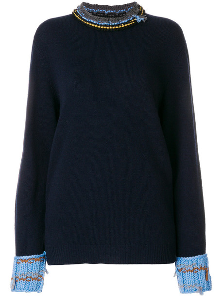 Prada jumper women blue wool sweater