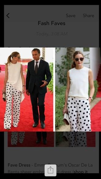pants polka dots wide-leg pants