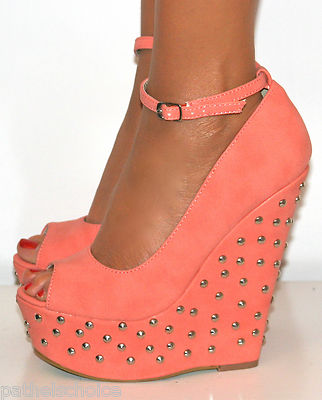 Ladies Coral Pink Peep Toe High Studded Wedge Heels Shoe Strappy Sandal Prom 3 8 | eBay