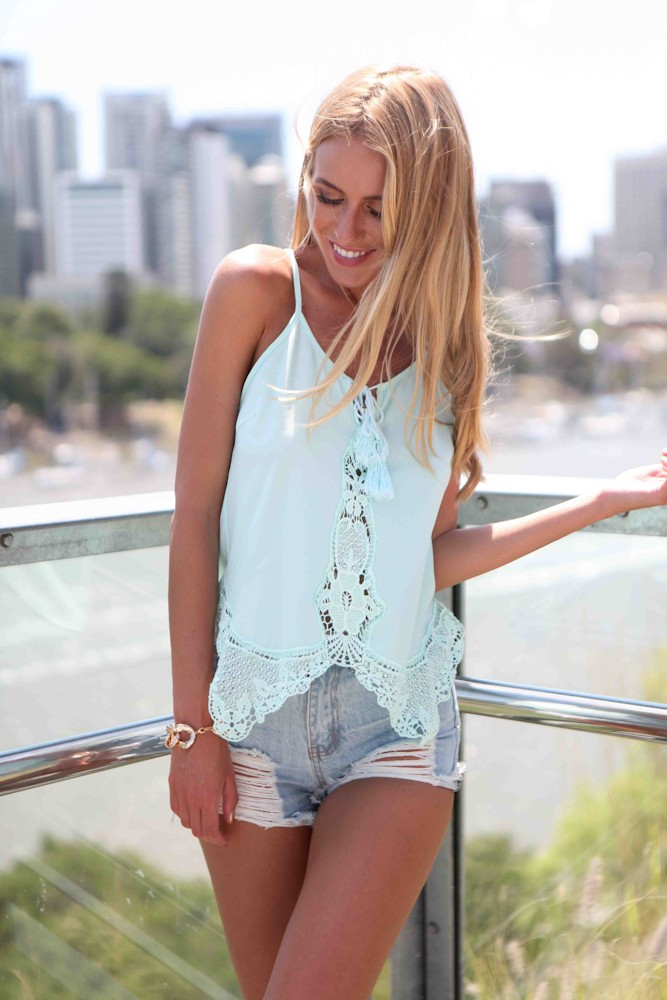 Flowy blue top with crochet lace detailing