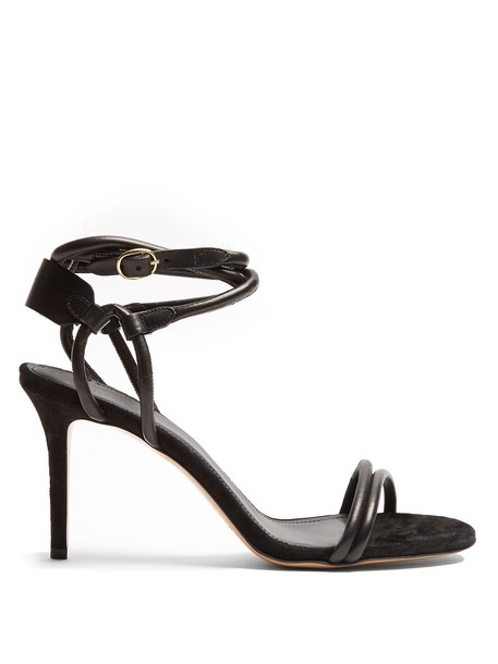 sandals leather suede black shoes