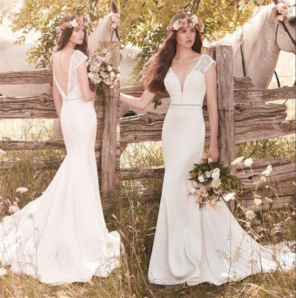 dress, mikaella bridal 2057, backless wedding dress, vintage lace ...