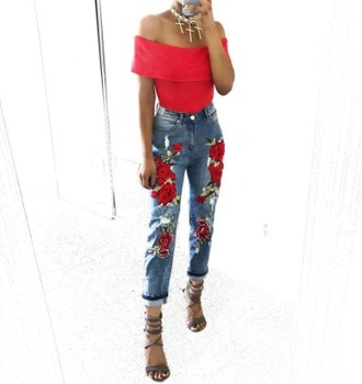 jeans 2020ave roses denim skinny jeans high waisted high waisted jeans summer outfits fall outfits rose embroidered