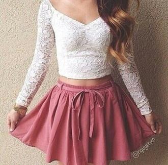 top pink skirt